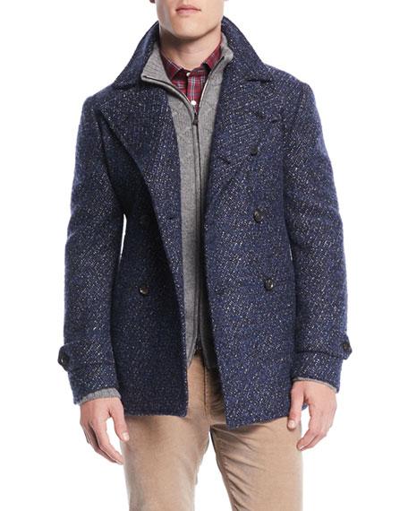 Isaia Men's Bouclé Wool-Blend Pea Coat