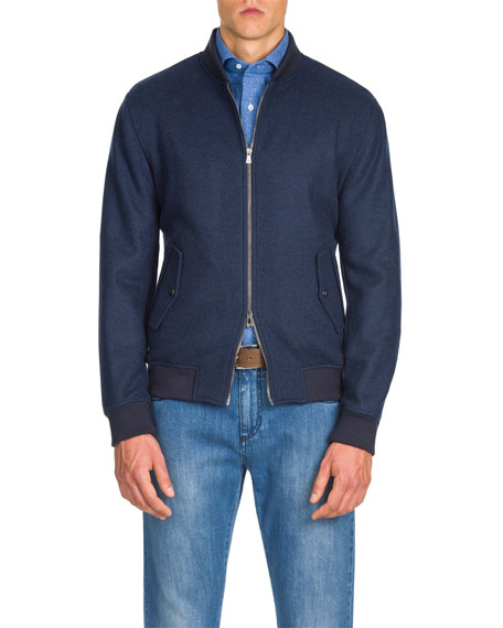 Men's Zip-Front Cashmere Bomber Jacket