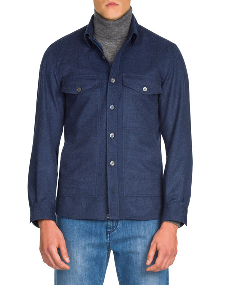 Men's Wool Button-Down Shirt