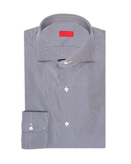 Isaia Men's Twill Stripe Cotton Dress Shirt