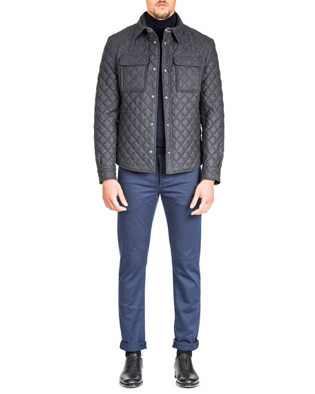 Men's Quilted Snap-Front Shirt Jacket