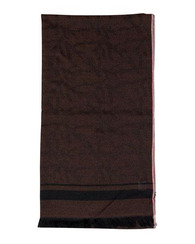 Men's Cashmere Striped-Trim Scarf
