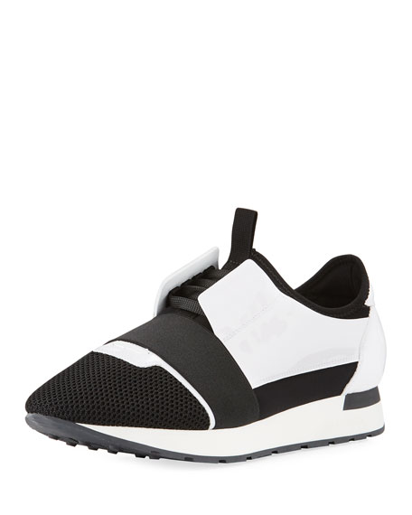 Sneakers RACE RUNNER calfskin mesh smooth leather Logo black white Balenciaga 0O7u4580