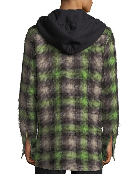 739d7fb0bdff48 Off-White Diagonal Stripes Plaid Flannel Hooded Shirt