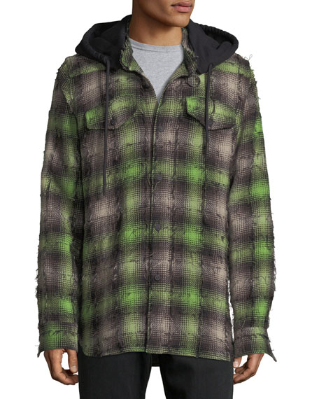 Diagonal Stripes Plaid Flannel Hooded Shirt