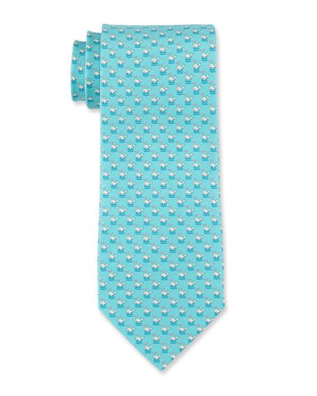 cba29c88dd26 Salvatore Ferragamo Whale Print Silk Tie