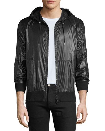 Men's Solid Nylon Wind-Resistant Jacket