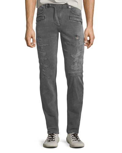 Men's Gray-Wash Distressed Skinny Jeans