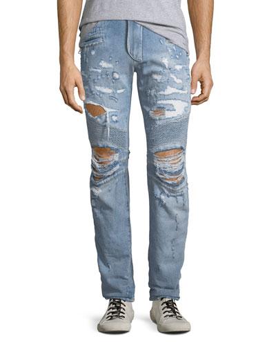 Men's Distressed Straight-Leg Biker Jeans
