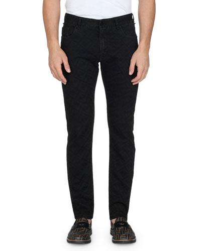 Men's Allover FF Print Straight-Leg Jeans