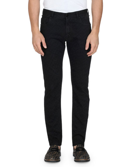 Men's Allover FF Print Straight-Leg Jeans