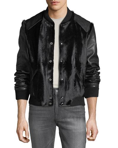 Men's Teddy Goatskin Bomber Jacket