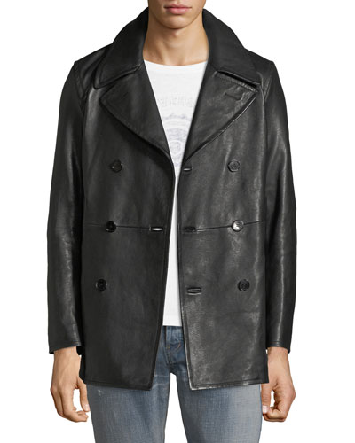 Men's Double-Breasted Leather Caban Coat
