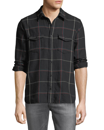 Men's Oversized Grid Sport Shirt with Pointy Pockets