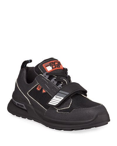 Men's Vitello Sport Sneakers with Grip-Strap Detail