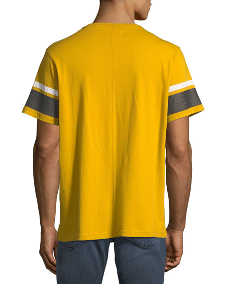 Men's Striped-Sleeve Graphic T-Shirt