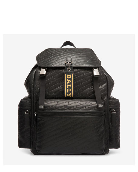 Bally Men's Logo-Embossed Flap-Top Leather Backpack