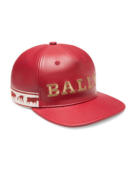 ac111557e0c Bally Men s Logo-Embroidered Leather Baseball Hat