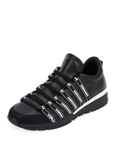 Men's Logo Strap Sneakers, Black