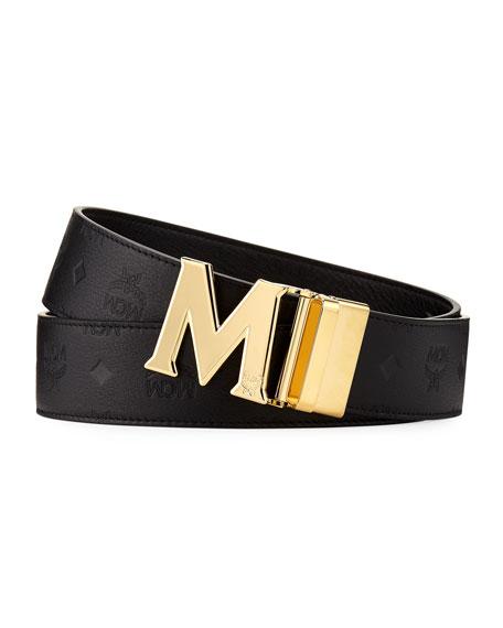 MCM Men's Embossed Leather Belt