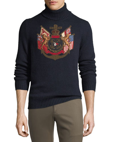 Men's Applique Embellished Cashmere Sweater