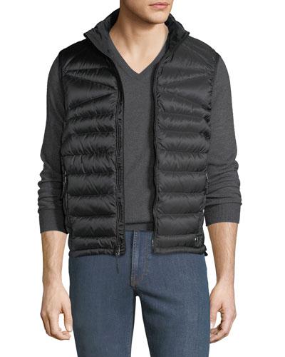 Men's Zip-Front Down Puffer Vest, Black