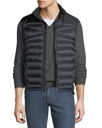 Men's Zip-Front Down Puffer Vest, Navy