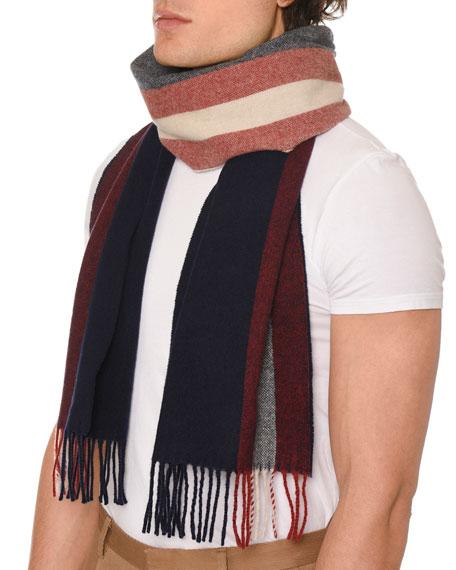 Men's Striped Fringe Scarf