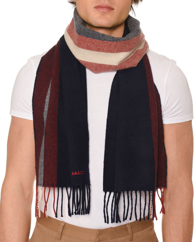Men's Striped Fringe Scarf
