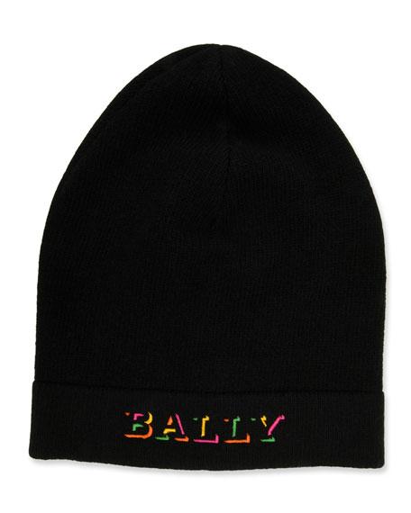 Bally Men's Rib-Knit Wool Beanie Hat with Neon