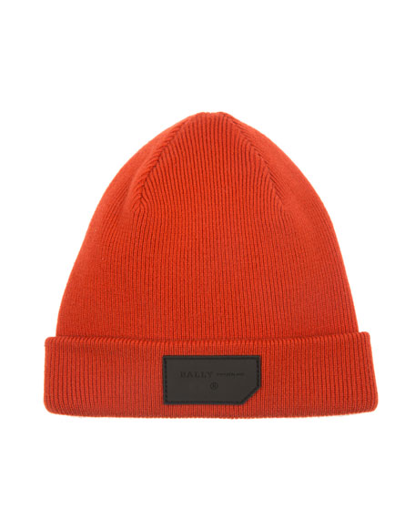 Bally Men's Logo-Patch Wool Beanie Hat, Orange