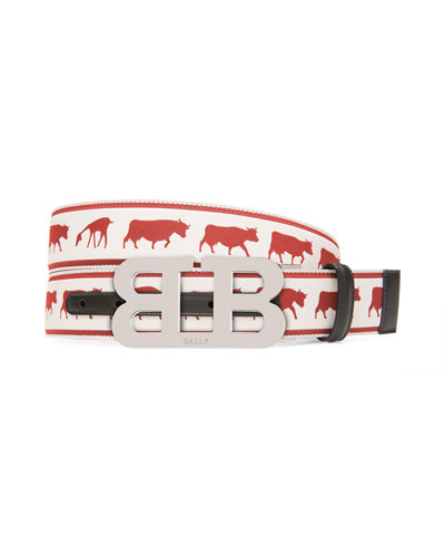 Men's Mirror B Reversible Web-Leather Belt with Barnyard Animals