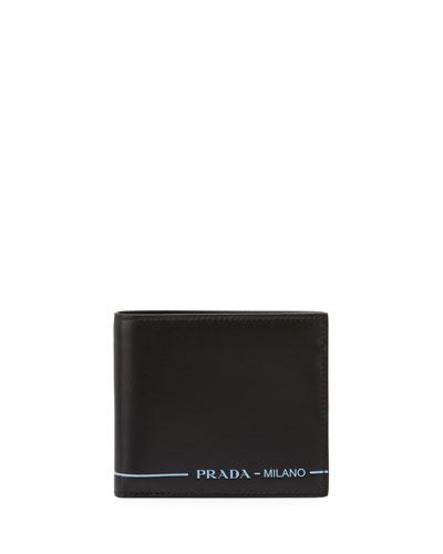 Men's Smooth Leather Bi-Fold Wallet