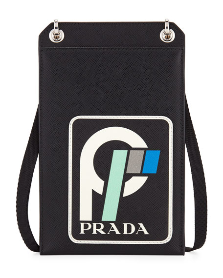 5d4e00e3404a48 ... where to buy prada mens saffiano leather patch lanyard id holder 9f6bb  ef8cf
