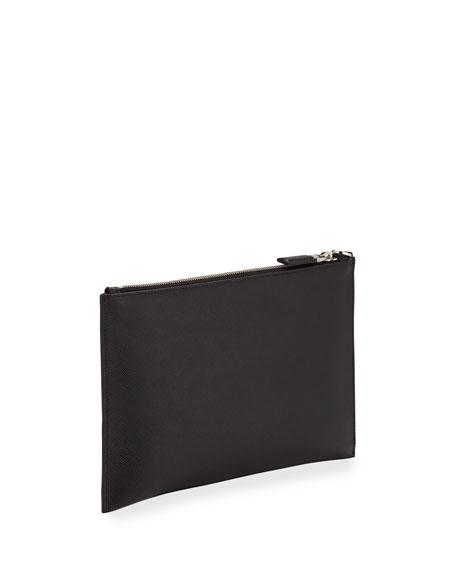 Men's Logo-Embossed Leather Portfolio Case