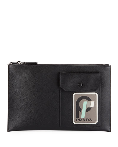 Men's Patch 2 Leather Portfolio Case