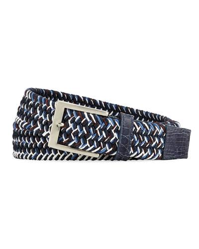 Men's Sport Stretch Belt with Crocodile-Trim  Blue