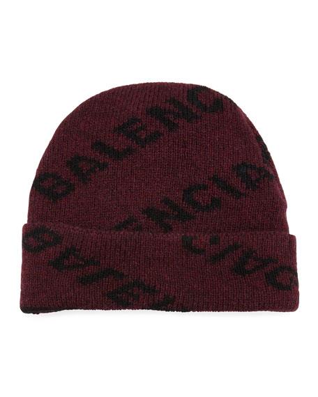 2af09b473c6 Balenciaga Men s Intarsia Knit Beanie Hat