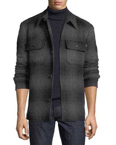 Men's Plaid Wool-Blend Overshirt