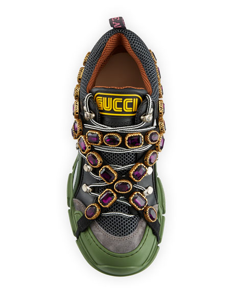Gucci Flashtrek Embellished Suede, Leather And Mesh Sneakers - Green