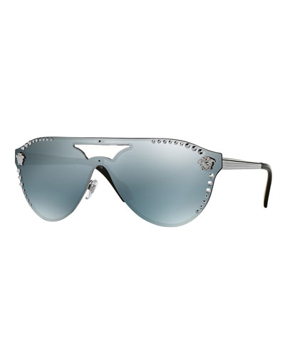 Men's Mirrored Metal-Studded Shield Sunglasses