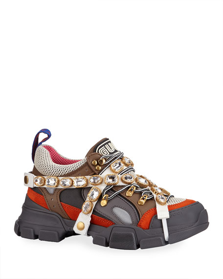 b633e24f9 Gucci Men S Leather And Canvas Sneakers With Removable Crystals In Multi