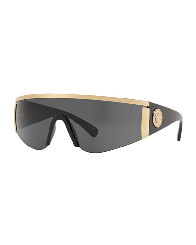 Men's Plastic Shield Sunglasses with Metallic Trim
