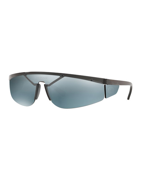 Versace Men's Plastic Shield Wrap Sunglasses with Mirrored