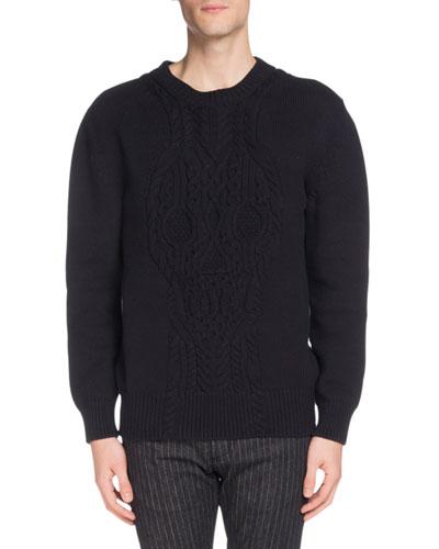 Men's Crewneck Cable-Knit Cotton Sweater