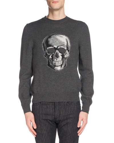 Men's Skull Graphic Wool Sweater
