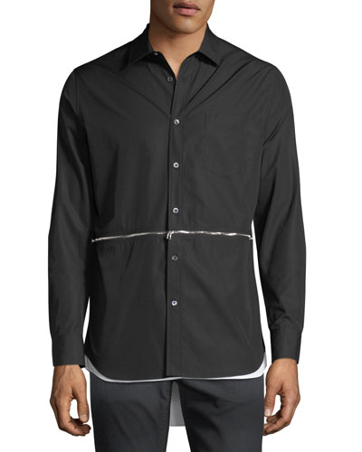 Men's Zip-Detail High-Low Sport Shirt