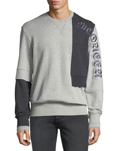 Men's Bicolor Reconstructed Cotton Sweatshirt w/ Signature