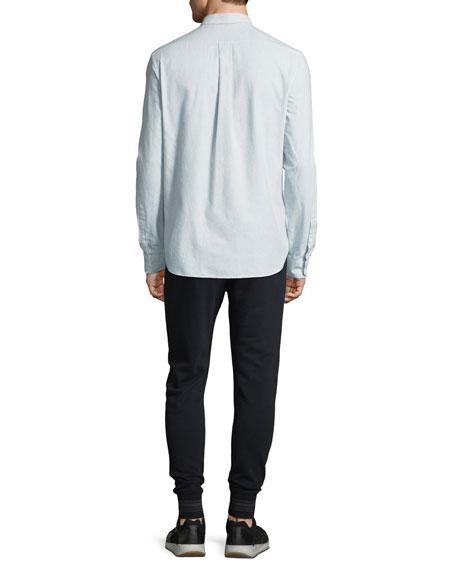 Men's Micro-Stripe Long-Sleeve Button-Front Cotton Shirt