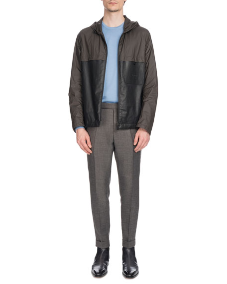Men's Nylon & Leather Zip-Front Bomber Jacket